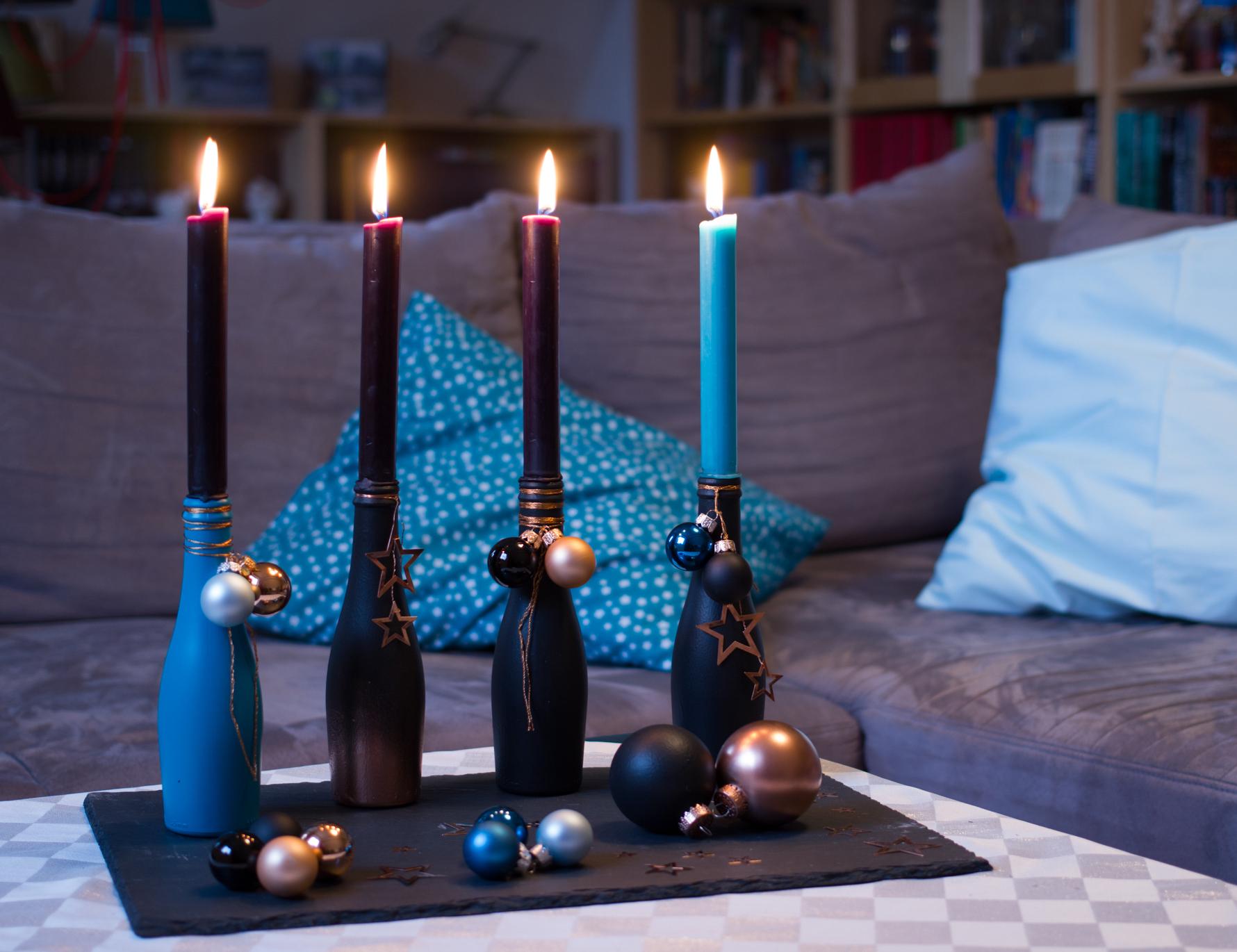 Adventskranz DIY mit Rotkäppchen Fruchtsecco (DIY-Bastelanleitung)