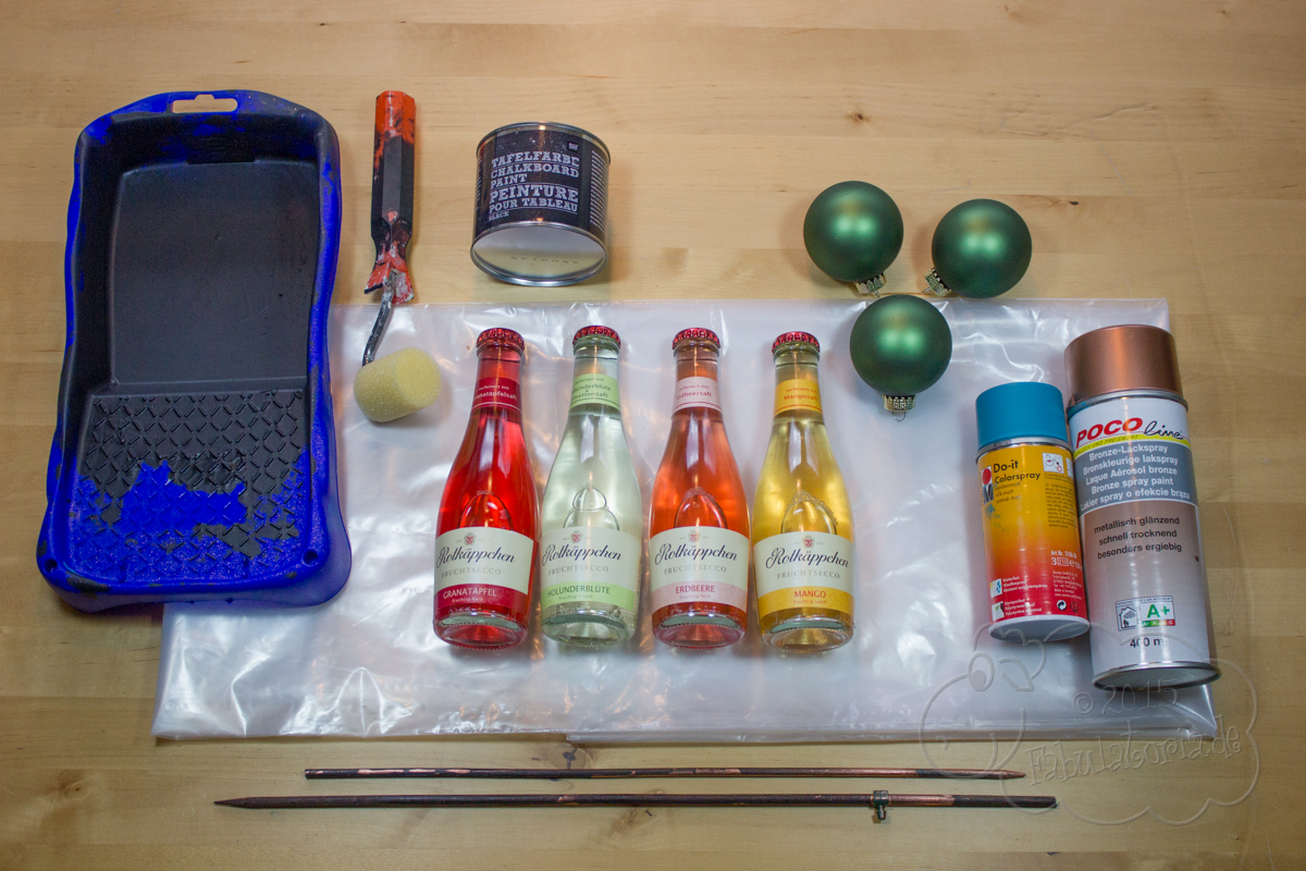Adventskranz DIY mit Rotkäppchen Fruchtsecco